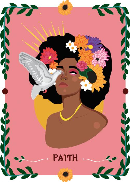 Woman With Flowers - Faith